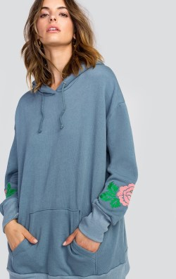 Indigo Rose Embroidery Relax Hoodie Sweatshirt by Wildfox
