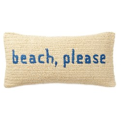 BEACH PLEASE Blue Moonlight Raffia Sentiment Pillow