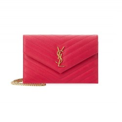 Saint Laurent Monogram Small Matelassé Wallet-on-Chain Fuchsia Handbag