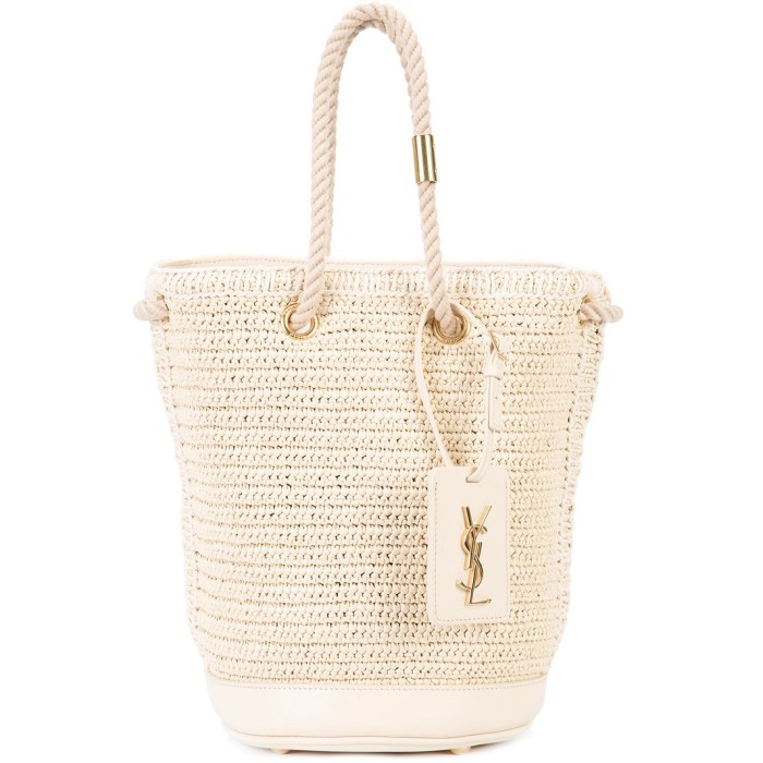 Saint Laurent Woven Monogram Bucket Bag
