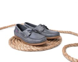 Sebago Schooner Dark Grey Mens Tumbled Leather Boat Shoes