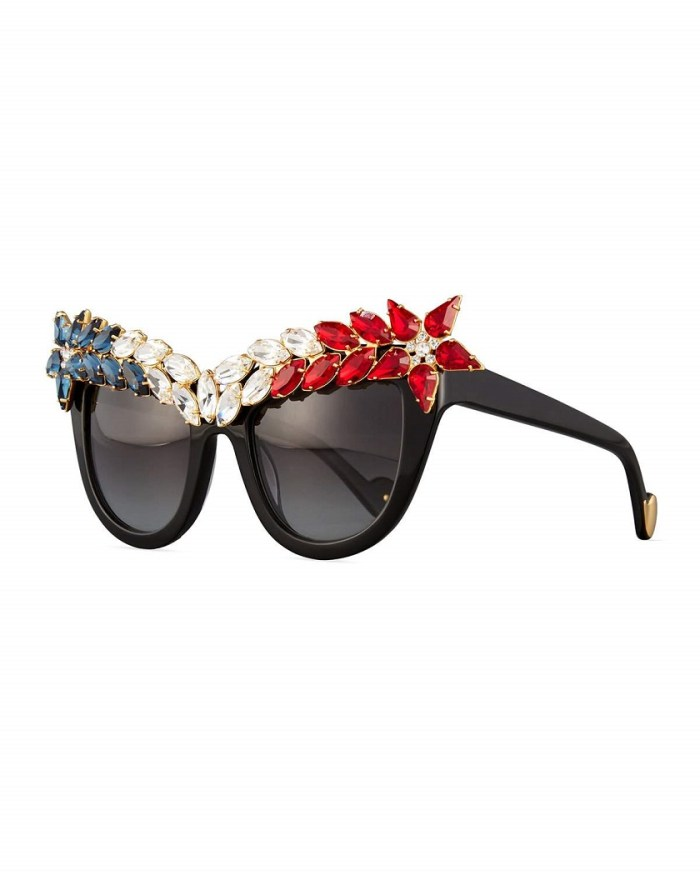 Anna-Karin Karlsson Decadence All American Swarovski® Red White & Blue Cat-Eye Sunglasses