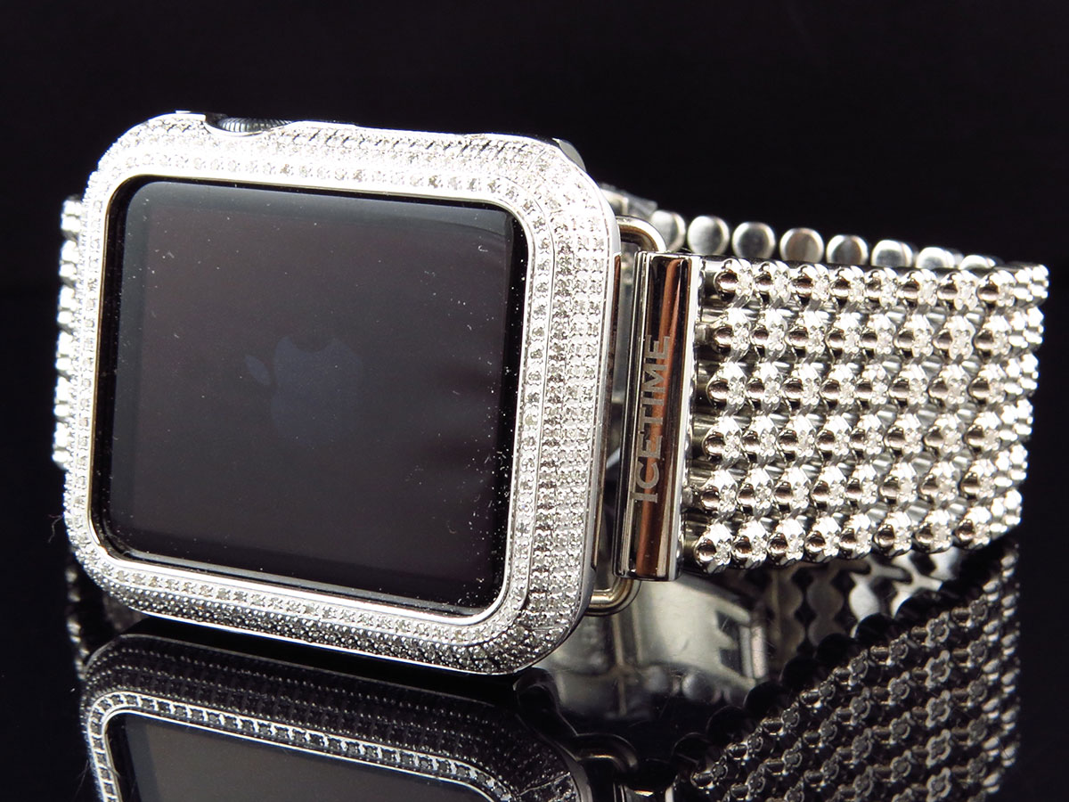Custom Apple iWatch Sports 42MM Stainless Steel 6.0ct Diamond Watch