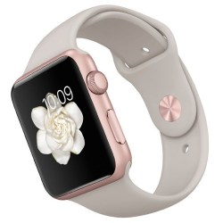 Apple Watch 42mm Rose Gold Aluminum Case Certified Refurbished with Stone Sport Band