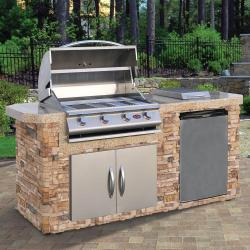 Cal Flame 7 ft. Natural Stone Grill Island with 4-Burner Gas Grill in Stainless Steel