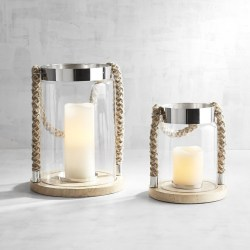 Glass Candle Jar with Rope Nautical Style Lanterns