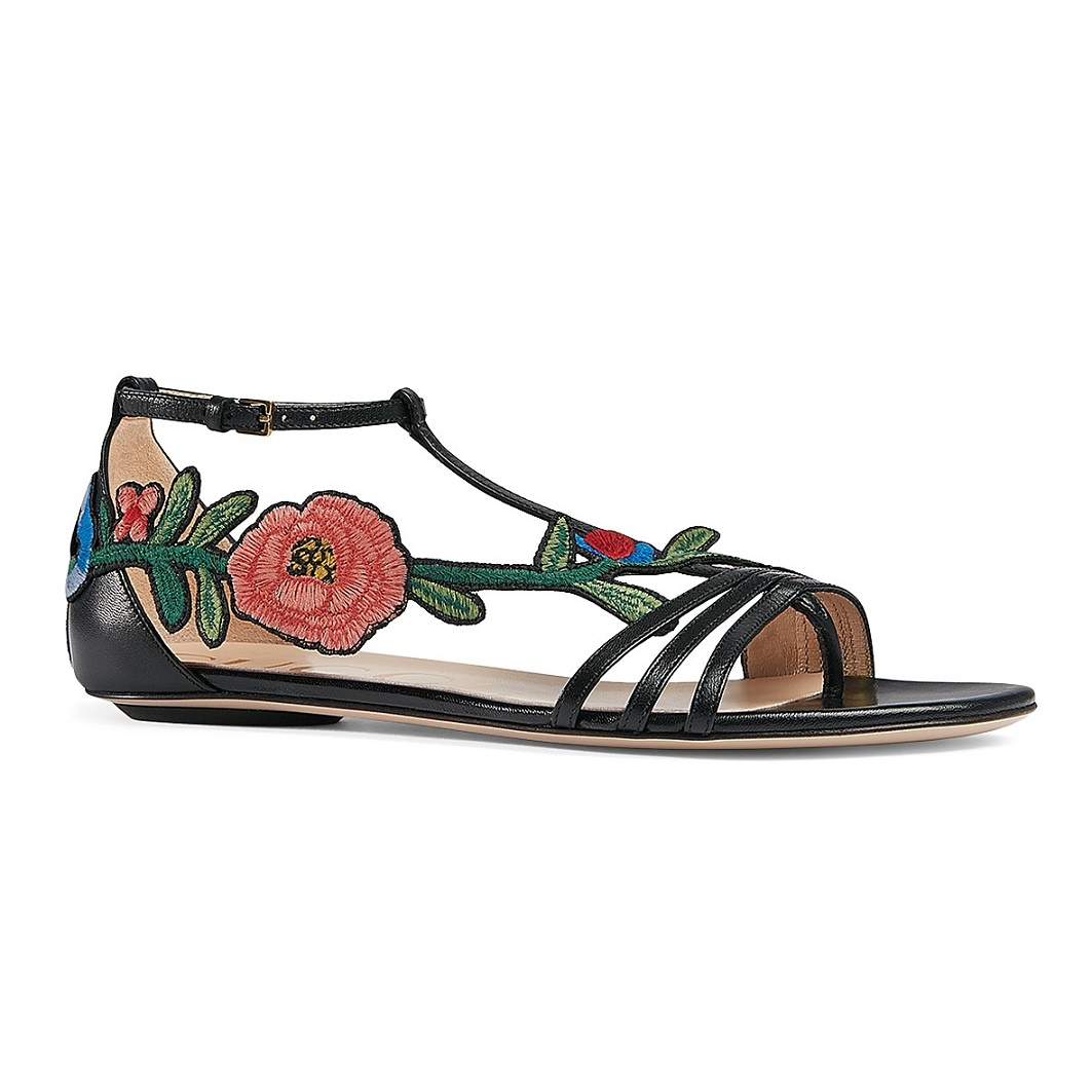 0d4fa63b229c7c Gucci Ophelia Embroidered Floral Appliqué Womens Leather T Strap Sandals