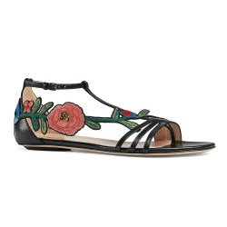 Gucci Ophelia Embroidered Floral Appliqué Womens Leather T Strap Sandals