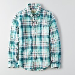 Classic Plaid Linen Seaform Mens Shirt by AEO