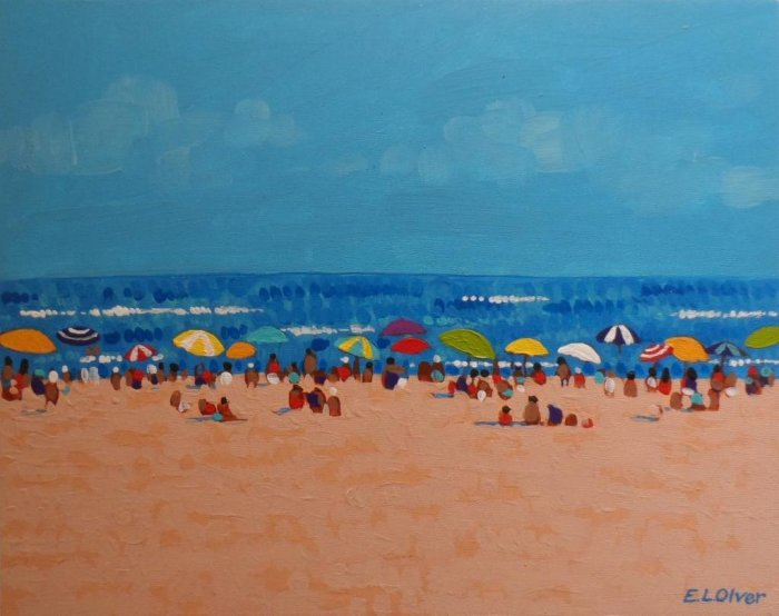 Favorite Beach Acrylic Painting 2011 by Elisabeth L. Olver