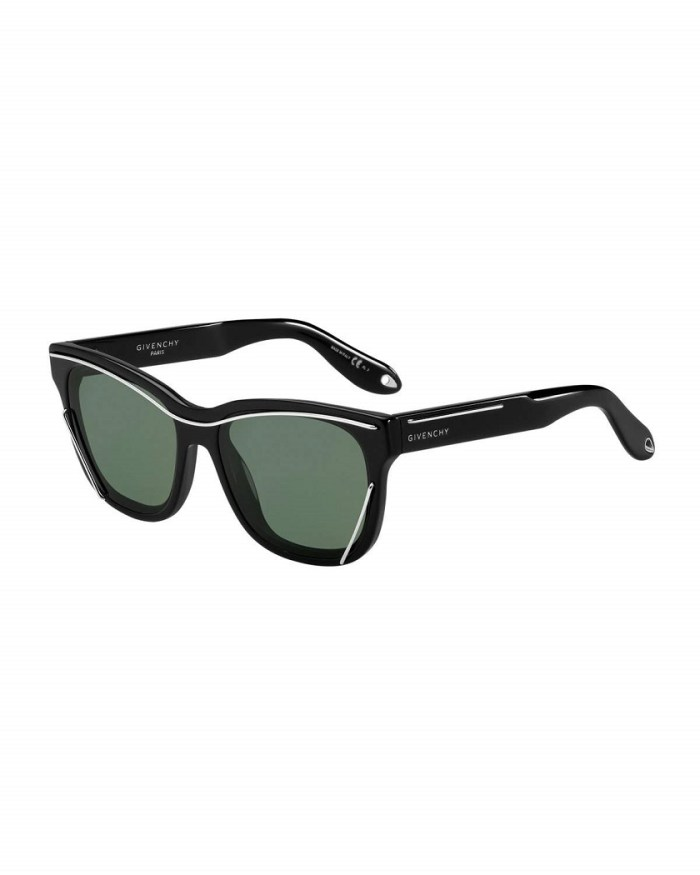 Givenchy Square Metal-Trim Monochromatic Black Sunglasses