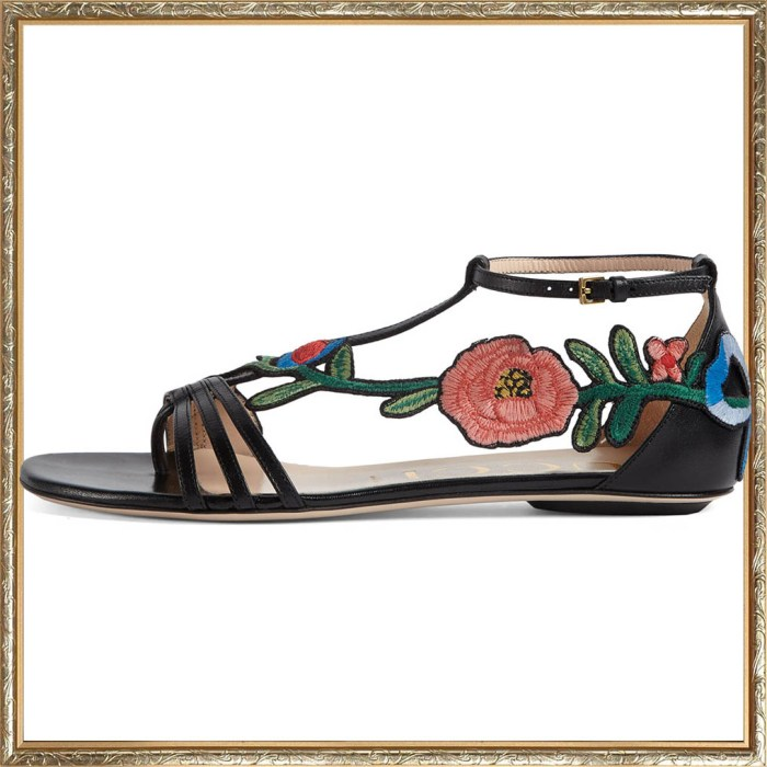 Gucci Ophelia Floral Embroidered Flat Sandals