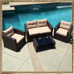 Rattan 4 Piece Outdoor Patio Furniture Sectional Set