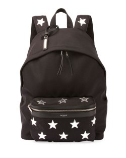 Saint Laurent City California Stars Black Nylon Backpack