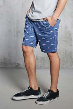 Shark Print Woven Mens Shorts