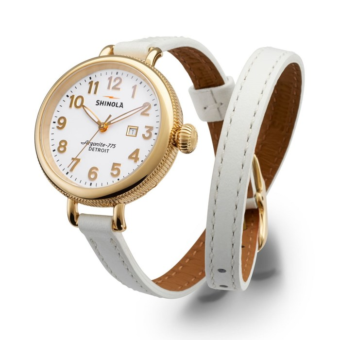 Shinola 34mm Birdy Golden Double-Wrap Womens Watch