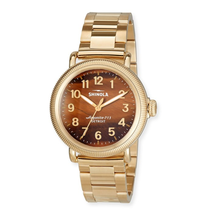 Shinola 38mm Women's Runwell Coin Edge Bracelet Watch w/ Tiger's Eye Dial