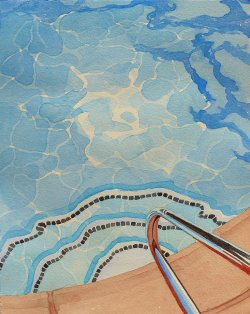 Sun Patterns in the Pool 2017 Watercolor by Leslie White