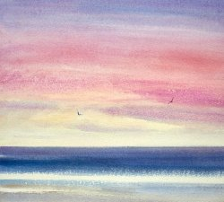 Sunset over the Shore Watercolor Painting 2017 by Timothy Gent