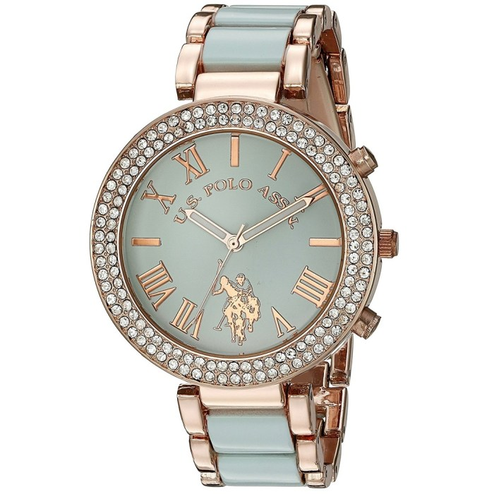 U.S. Polo Assn. Quartz Rose Gold Green Womens Dress Watch