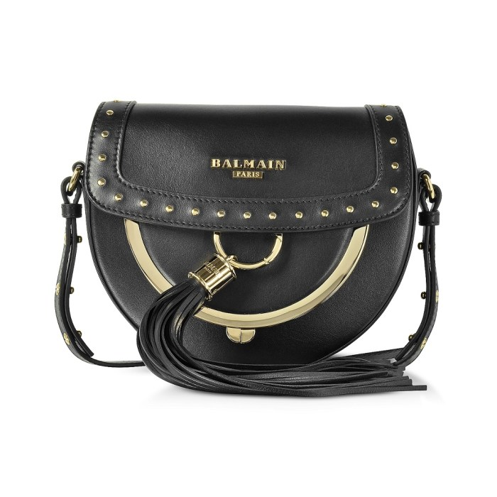 Balmain Domaine 18 Glove Black Leather Crossbody Bag