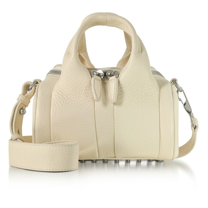Alexander Wang Cream Soft Pebble Leather Mini Rockie Satchel Bag w/ Wide Handles