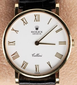 Rolex Cellini 18K Gold Men's Wrist Watch Box & Case Papers Black Crocodile Band