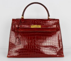 GORGEOUS HERMES KELLY BIRKIN 32 BURGUNDY RED CROCODILE ALLIGATOR VINTAGE HANDBAG