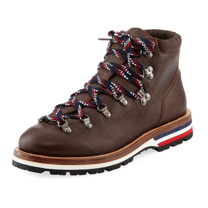 Moncler Peak Leather Lace-Up Mens Ankle Boots