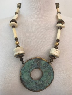 VINTAGE BONE & BRASS BEADS & LARGE BOHEMIAN RETRO VERDIGRIS 24″ PENDANT NECKLACE
