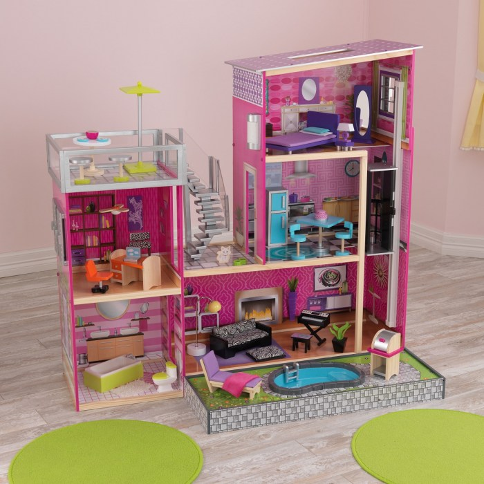 Kid Kraft Uptown Wooden Dollhouse With 35 Pieces of Furniture