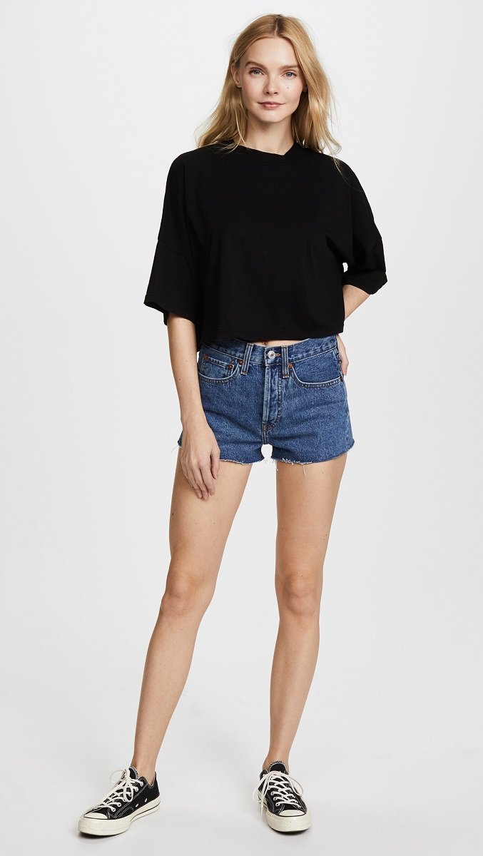 Denim High Rise Shorts by Re/Done