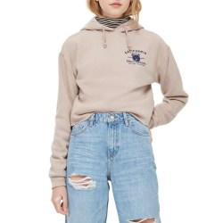 TOPSHOP Vintage-inspired Graphic Crop Hoodie Sweatshirt