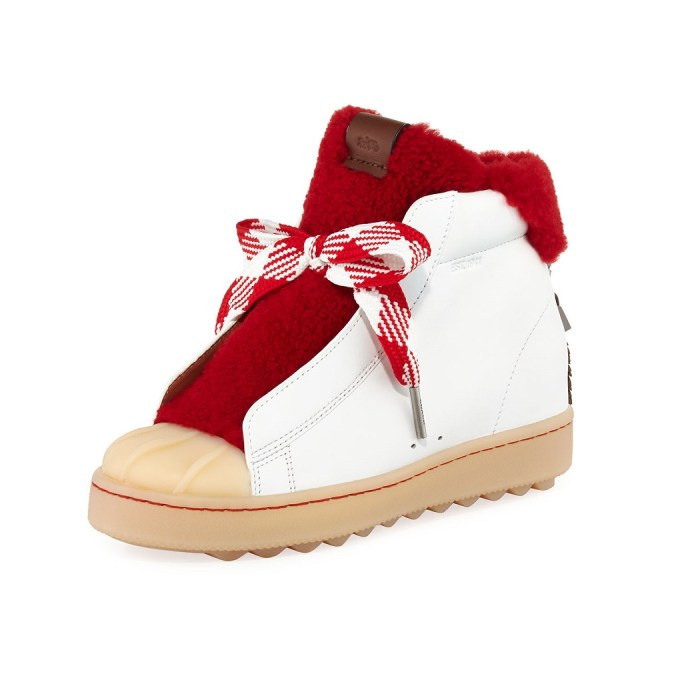 Coach Colorblock High-Top Platform Sneaker with Fur
