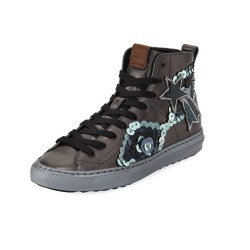 Coach C216 Star Sequin High-Top Gunmetal Womens Sneakers