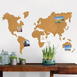 Wallpops Cork World Map Wall Mounted Bulletin Board