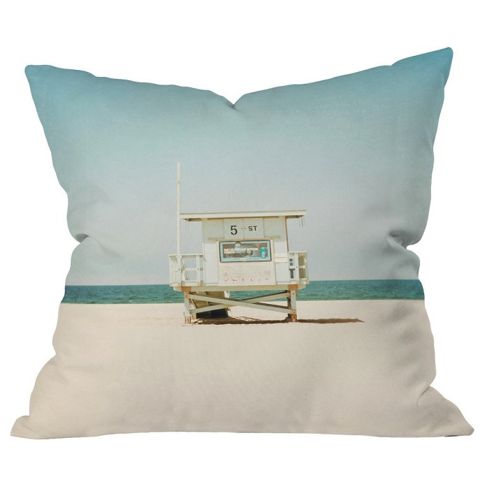 Sky Blue Bree Madden 5th Street Lifeguard Tower Throw Pillow – Deny Designs