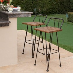 Leonardo Outdoor Industrial Teak Finished Acacia Wood Barstools Set of 2 with Iron Frame