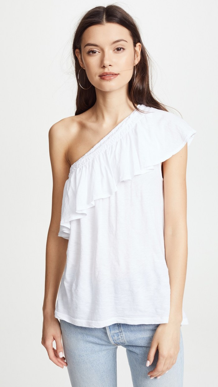 SUNDRY One Shoulder Ruffle Tee