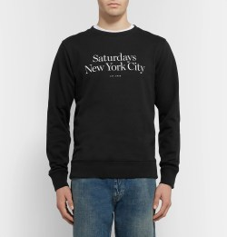 Saturdays NYC Bowery Miller Printed Loopback Cotton-Jersey Sweatshirt