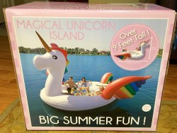 Inflatable Unicorn 9 Feet Tall Sun Pleasure Mega-Sized Magical Island 6 Person Capacity Water Float