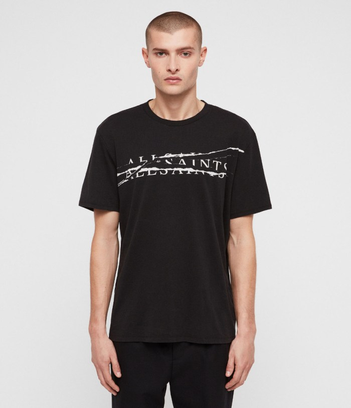 ALL SAINTS MENS RIPPED CREW T-SHIRT