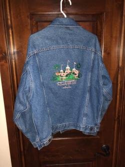 The Beverly Hills Hotel & Bungalows Denim Blue Jacket Large VINTAGE CLASSIC!