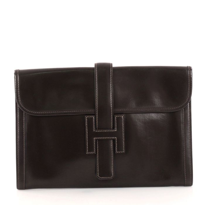6d04e1333bf Hermes Jige Clutch Box Calf PM Bag from Ebay