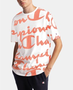 Champion Groovy Papaya Men's Big Script T-Shirt from Macys