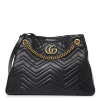 Gucci GG Marmont Calfskin Matelasse Medium Black Leather Shoulder Bag - Preowned