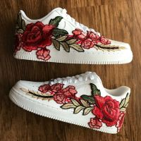Nike Air Force 1 Size 11 CUSTOM White Red Rose AF1 FREE SHIPPING Made Per Order