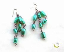 orecchini di perline di plastica riciclata - Malice's Craftland - riciclo creativo - artigianato sostenibile italiano