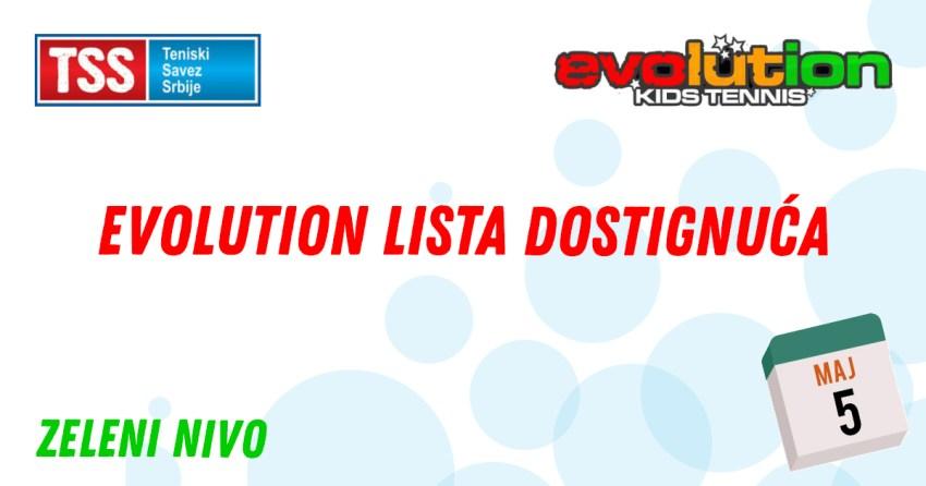 Evolution lista dostignuća TSS, Teniski savez Srbije, Evolution Kids Tennis, zeleni nivo
