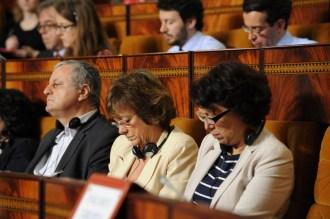Malika Benarab-Attou en compagnie d'Isabelle Durant (eurodéputée Les Verts/ALE) et de François Alfonsi (eurodéputé Les Verts/ALE)